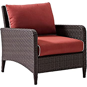 Crosley Furniture Kiawah Outdoor Wicker Arm Chair With Sangria Cushions    Brown