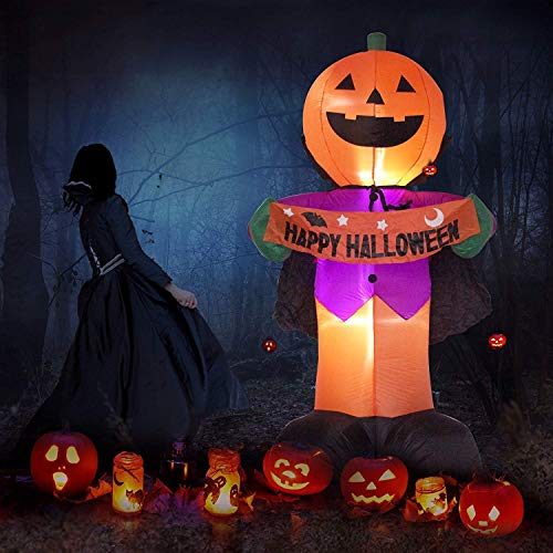 Fanshunlite Halloween 8FT Airblown Inflatable Pumpkin Knight Smile Face with Happy Halloween,Perfect for Home Outdoor Decoration by The Porch or -