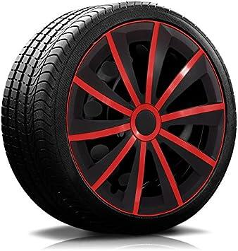 15 Zoll Rkk13 Matt Black Line Schwarz Rot Radkappen Radzierblenden 4 Stück Auto
