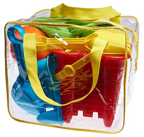 Beach Toy Set in Reusable Zippered Bag with Mesh Bag for Easy Clean and Store (Sand Toys)