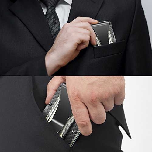 Money Clip Slim Wallet, Minimalist Wallet, Men's&Women's Carbon Fiber Card Case by Halowin (Image #4)