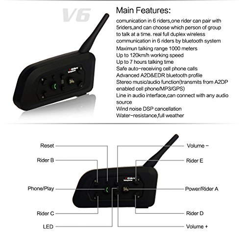 Casque Interphone pour Moto Connecter Jusqu/à 6 Riders pour V/élo Ext/érieur,Escalade en Montagne le Ski ESTGOUK 2 /× V6 1200M Bluetooth Casque de Moto Interphone