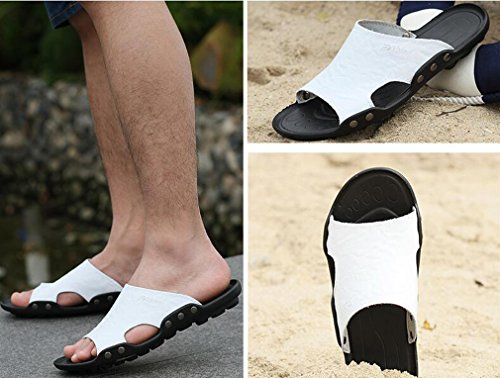 Extérieur Chaussures Blanc Summer Cuir On Tongs Holiday plates Casual Tongs Plage Hommes Hommes Maison Slipper Slip Juleya pour Sandales wPqYZUnA