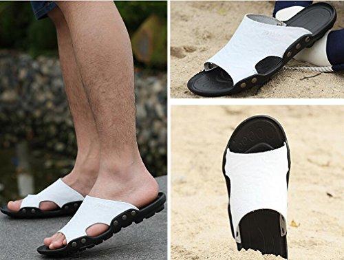 on Pantoufles Flip Sandales D'été flop La Occasionnels Maison À Flip De Hommes Pour Chaussures flops Plage De Blancs Plat Air Vacances En Cuir Mens Les Juleya Slip Plein qwOgTT