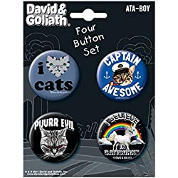 "Ata-Boy David and Goliath Caticorn and More Set of 4 1.25"" Collectible Buttons"