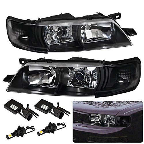 For Nissan Maxima A32 1 Piece R34 Style Headlights Black Housing Clear Lens + Super Bright Led 9006 Conversion Kit