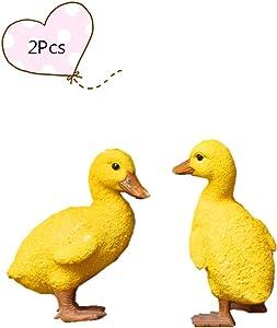 Brave Tour Resin Crafts Realistic Mini Yellow Duck Chicken Figure, Landscape Animal Ornaments, Garden & Yard Decoration, Outdoor Statue (Yellow Duck)