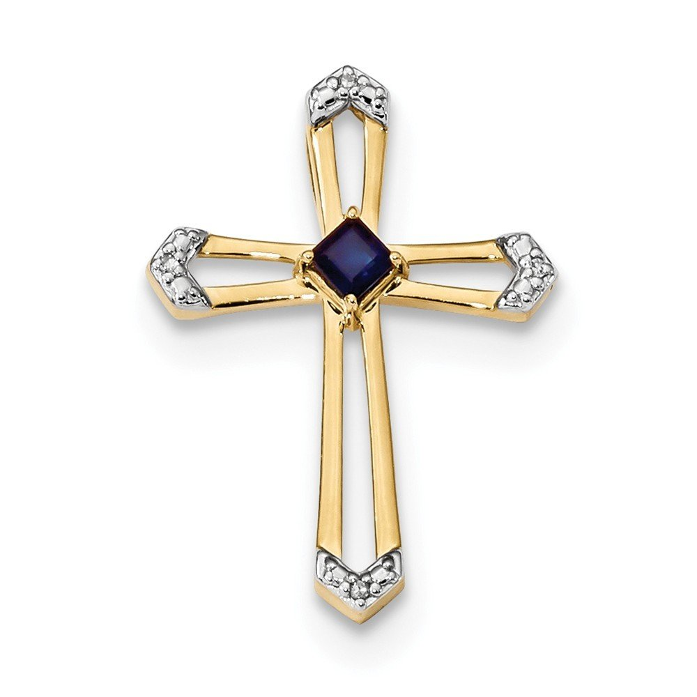 19mm 14k Gold With Sapphire and Diamond Polished Cross Chain Slide