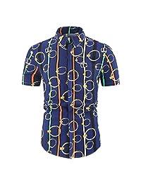 Casual Tops,Men's Turn-Down Collar Short Sleeve Striped Print Button Down T-Shirt