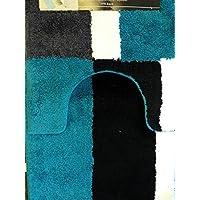 2 Piece Microfiber Bath Rug Set Checker Stripe Bathroom Rug and Contour Mat 20x30 (Blue)