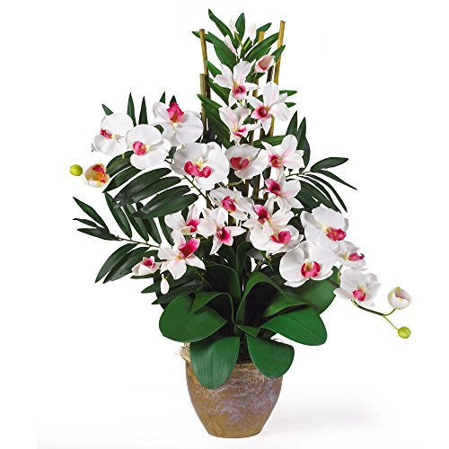 GREATHOPES Double Phal/Dendrobium Silk Flower Arrangement White/White Home Decoration Flowers ()