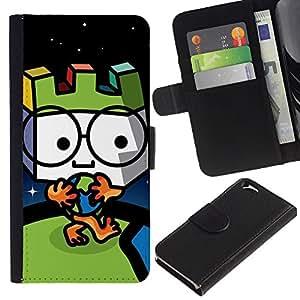 KLONGSHOP // Tirón de la caja Cartera de cuero con ranuras para tarjetas - Globo lindo hombre - Apple Iphone 6 //