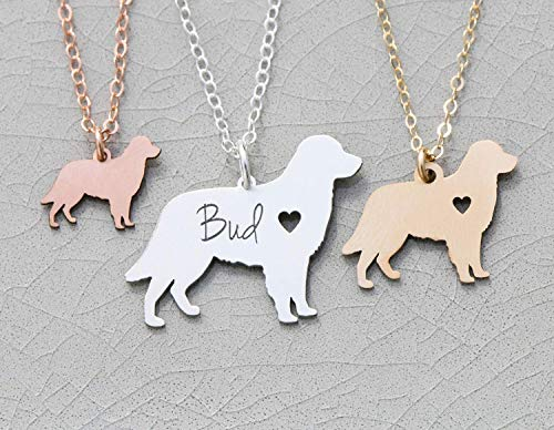 (Golden Retriever Dog Necklace - IBD - Personalize Name Date - Pendant Size Options - 935 Sterling Silver 14K Rose Gold Filled Charm)