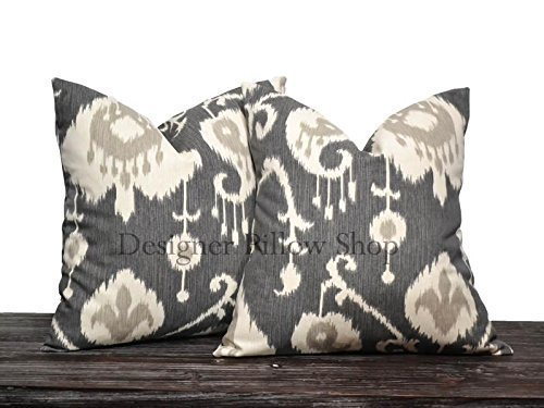 Charcoal Gray Ikat Pillow Cover Set