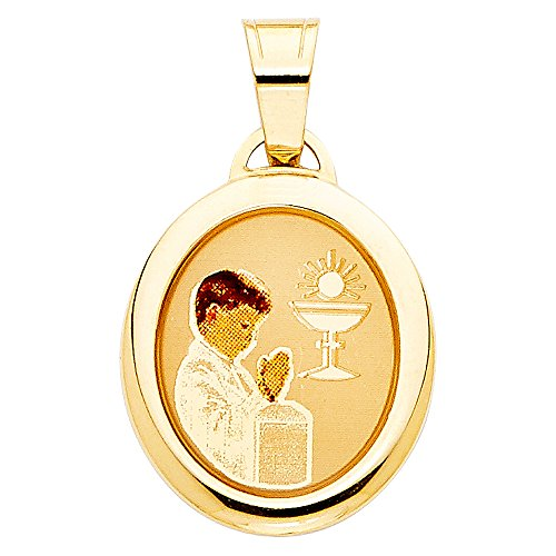 Million Charms 14k Yellow Gold Small/Mini First Communion Picture Medal Boy (19mm x ()