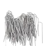 OuYi Garden Staples Galvanized Landscape Sod Stakes, 100 Pack 6 Inch 11 Gauge Rust Resistant Steel Lawn U Pins Pegs - Securing Ground Cover, Weed Barrier Fabric GardenStaple_W_100_US
