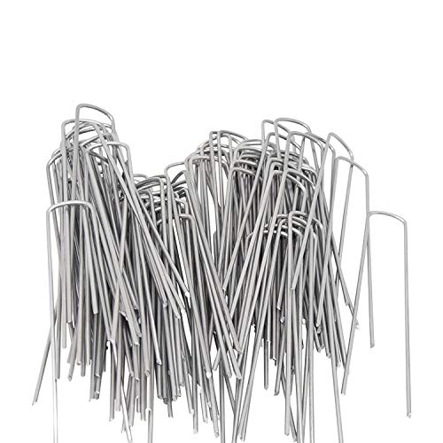 OuYi Garden Staples Galvanized Landscape Sod Stakes, 100 Pack 6 Inch 11 Gauge Rust Resistant Steel Lawn U Pins Pegs-Securing Ground Cover, Weed Barrier Fabric GardenStaple, 100x, Silver -