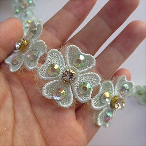 Green Flower Trim - 1 Meter Heart Flower Diamond Lace Edge Trim Ribbon 3 cm Width Green Trimmings Fabric Embroidered Applique Sewing Craft Wedding Bridal Dress Embellishment DIY Party Decoration Clothes Embroidery