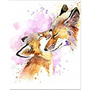 7Dots Art. Mom and Baby. Watercolor Art Print, Poster 8 x10  on Fine Art Thick Watercolor Paper for Childrens Kids Room, Bedroom, Bathroom. Wall Art Decor with Animals for Boys, Girls. (Foxes)