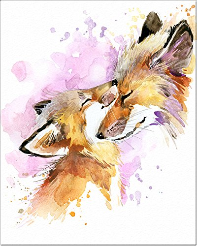 "7Dots Art. Mom and baby. Watercolor Art Print, poster 8""x10"" on Fine Art thick Watercolor paper for childrens kids room, bedroom, bathroom. Wall art decor with Animals for boys, girls. (Foxes)"