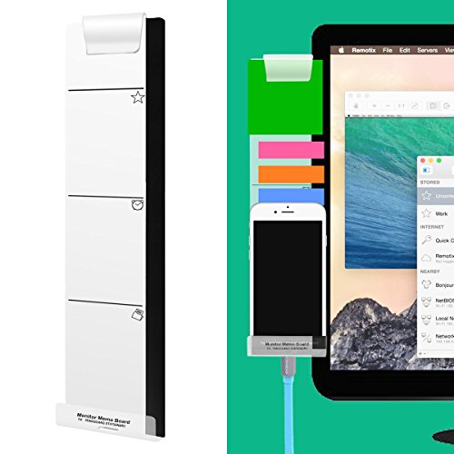 Home Office Paper Clip Holder (Monitor Memo Board Computer - Monitor Sticky Note Holder - Phone Message Memo Pad Charge Cable - Clip Transparent Message Creative Multifunction Paper Sticky Notes Boards for Cabinets Shelves Left)