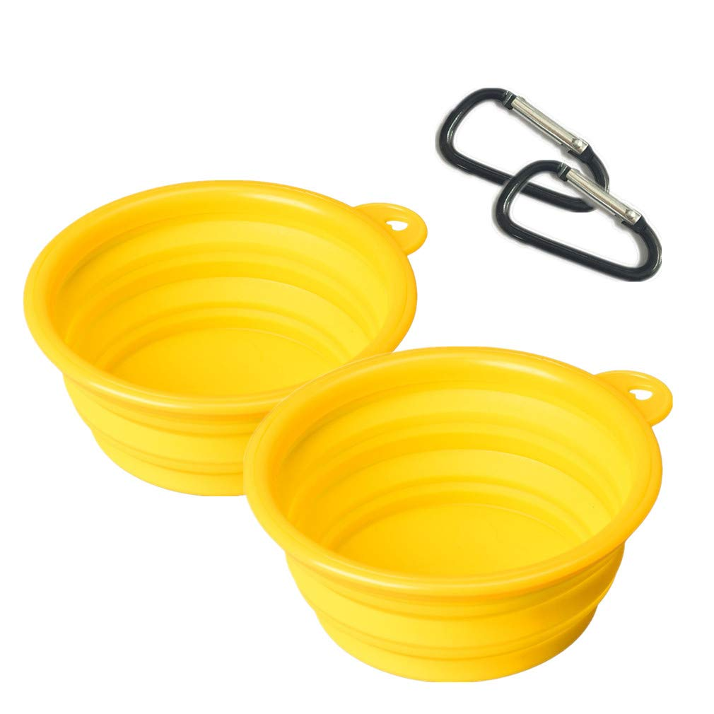 ReachTop Travel Collapsible Dog Bowl, 2 Pack Food Grade Silicone Portable Foldable Expandable Cup Dish for Pet Dog Cat Yellow Food Water Feeding Bowls on Outdoor Camping, Hiking Feeding