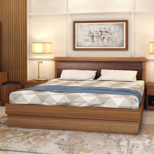 Durian Robinson Engineered Wood Hydraulic King Bed with Mattress  Brown