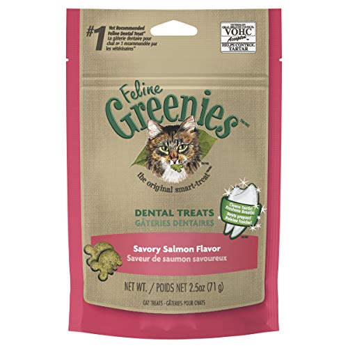 Greenies FELINE Dental Treats for Cats Savory Salmon Flavor 2.5 oz.