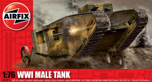 (Airfix A01315 1:76 Scale WWI Male Tank Military Vehicles Classic Kit Series 1)