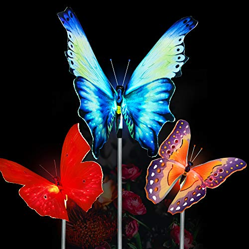 Dolucky Outdoor Butterfly Solar Garden Light Fiber Optic Butterfly Solar Powered Light with Multi-Color Changing LED Light for Garden Patio Flowerbed, Waterproof, 3 ()