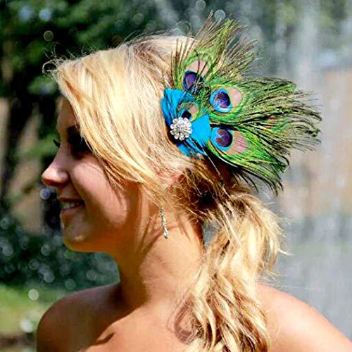 Nero Women's Handmade Peacock Feather Fascinator Headpiece, Fascinator Headband for Fancy Party by Aukmla,multi,Free Size ()