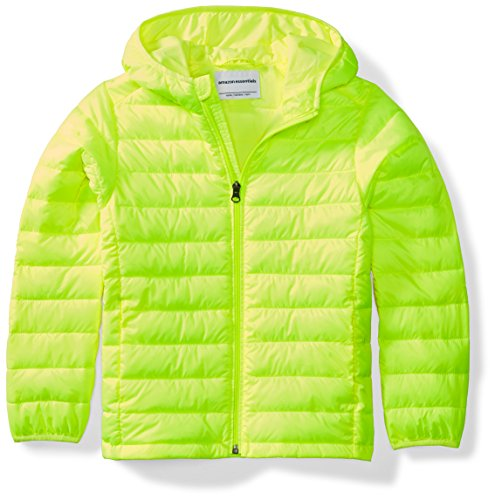 Amazon Essentials Boys' Lightweight Water-Resistant Packable Hooded Puffer Jacket, Neon Yellow, Large ()