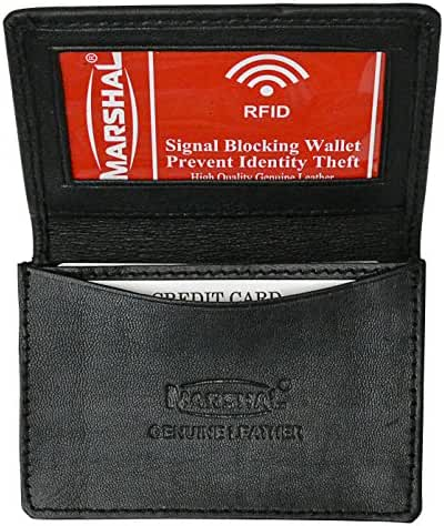 Marshal Leather RFID Business Card Holder Expandable For Men & Women | Genuine Leather Holder With 40 cards, elite size & ID Window | For Credit/Debit Cards, Money, Driver's License, Travel & More