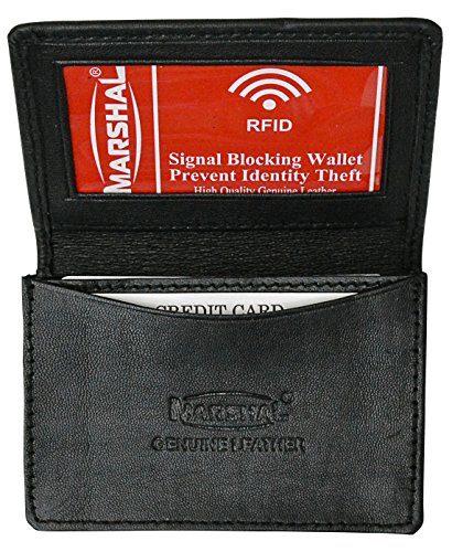 m Genuine Lamb Leather Business Card Holder Expandable Wallet Money Card Case Mens by Marshal Wallet (Black) (Simple Card Holder)