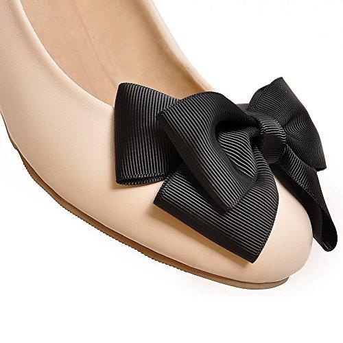 Puro Beige VogueZone009 Luccichio Donna Tacco Punta Tirare Flats Medio Ballet Tonda qnwaHUx6