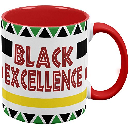 Old Glory Black History Month Excellence Pan African Colors Red Handle Coffee Mug White-Red Standard One Size - Excellence Pans