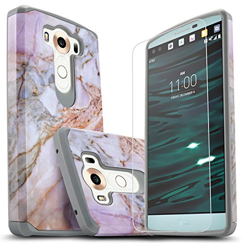 LG V10 Case, Starshop [Shock Absorption] Dual Layers Impact Advanced Protective Cover with [Premium HD Screen Protector Included] for LG V10 (Marble Pattern)