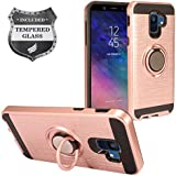 Eaglecell - Samsung Galaxy A6 (2018) SM-A600 - Hybrid Hard Case w/Ring Stand + Tempered Glass Screen Protector - RS2 Rosegold