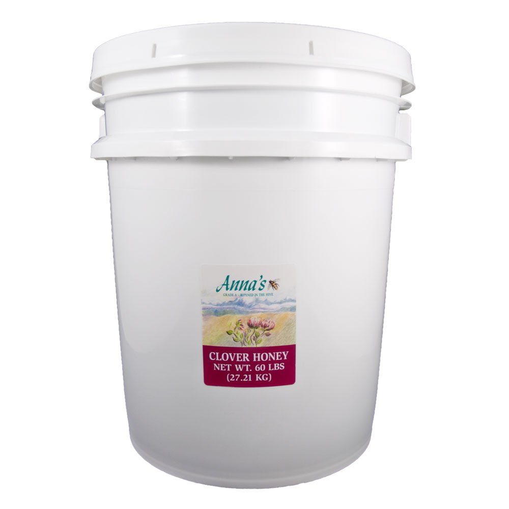 Clover Honey, 60 lb Bulk Pail - Gourmet, Pure Honey - by Anna's Honey by Anna's Honey