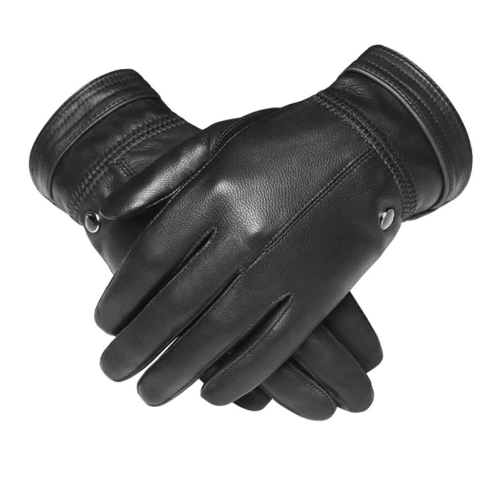Qzp Handschuhe Männlich Touchscreen Leder Schaffell Plus Samt Winter Warm Reiten Motorrad Dünne Winddichte Handschuhe,schwarz(A)-XL