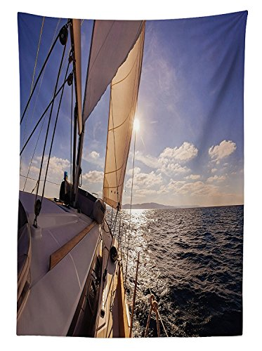 vipsung Sailboat Nautical Decor Tablecloth Sailing Boat Wide Angle View in The Sea Sunbeams Ship Lifestyle Seascape Dining Room Kitchen Rectangular Table ()