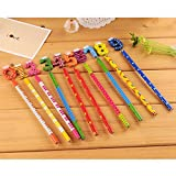 LUQUAN 10Pcs/Set Novelty 0-9 Number Writing Pencil Cute Hb Wooden Pencils For Kids