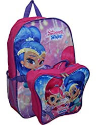 Nickelodeon Girl Shimmer And Shine 16 Backpack With Detachable Matching Lunch Box