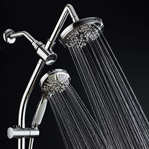 Spa Station 34'' Adjustable Drill-Free Slide Bar with 48-setting Showerhead Combo & Height Extension Arm / 3-way Rain & Handheld Shower Head/Low Reach Diverter/Stainless Steel Hose/Chrome by Hotel Spa (Image #5)
