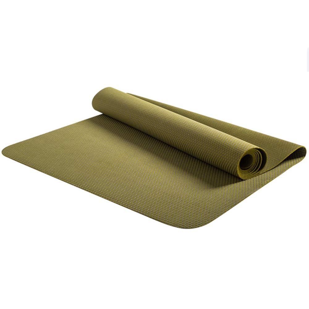 LS-Exercise Fitness Yoga Mat - Professional Natural Rubber Yoga Mat Non-Slip Female Folding Yoga Mat Ultra-Thin Portable 1.5mm Paving Fitness Mat [Send Storage Bag]& (Pattern : Dark Khaki)