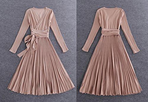 f4de15dba1b R.Vivimos Women s Autumn Long Sleeve V Neck Elegant Knitted Slim Knee-Length  A