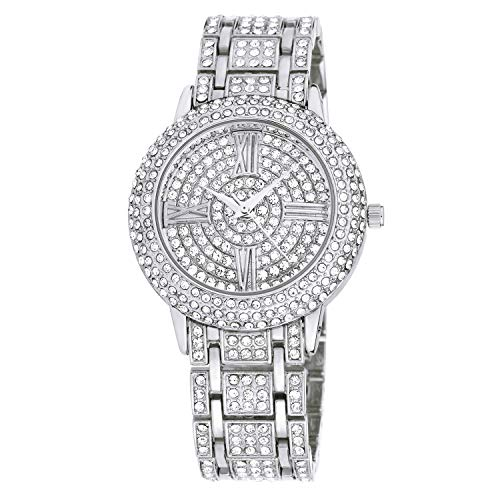 Zeiger New Women Luxury Ladies Analog Quartz Round Watch Bling Jewelry Plated Classic Watch Crystal Charm Bracelet(Silver)
