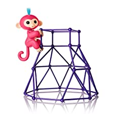 Fingerlings - Jungle Gym Playset + Interactive Baby Monkey Aimee (Coral Pink with Blue Hair)