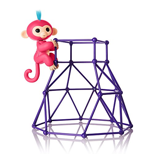 WowWee Fingerlings - Jungle Gym Playset + Interactive Baby Monkey Aimee (Coral Pink with Blue Hair) By