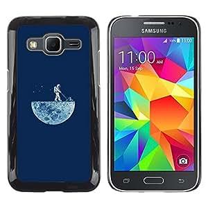 Caucho caso de Shell duro de la cubierta de accesorios de protección BY RAYDREAMMM - Samsung Galaxy Core Prime - DIVERTIDO LAWNING LA LUNA